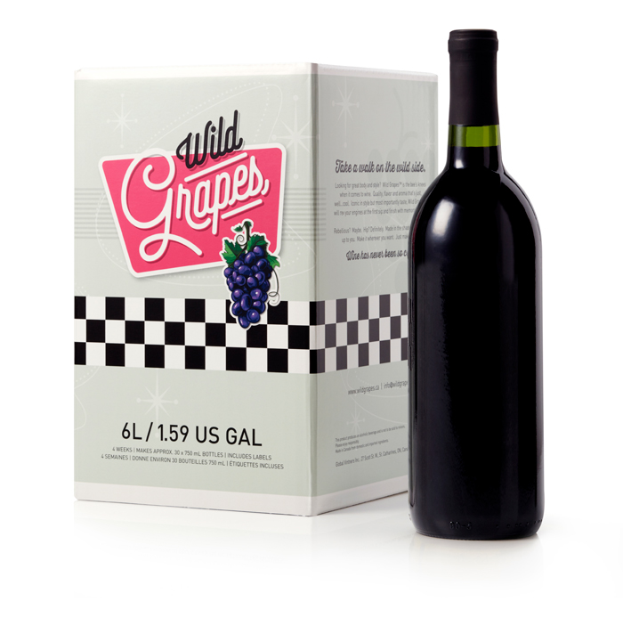 Photo of Wild Grapes kit with red wine bottle
